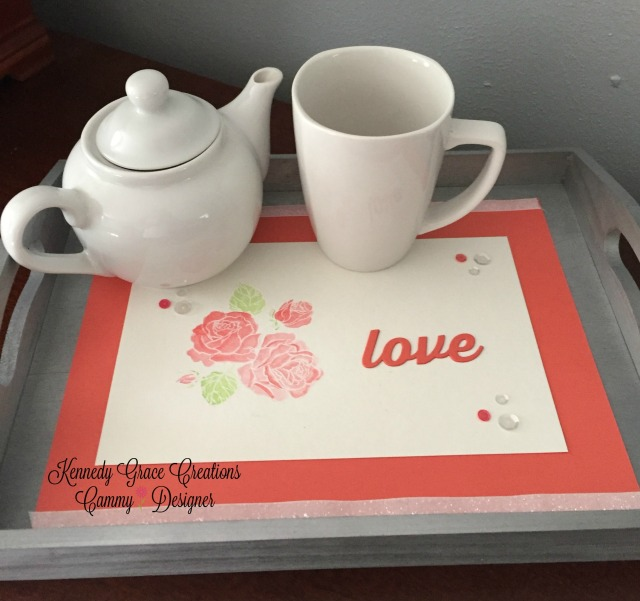 KGC coral love rose tray